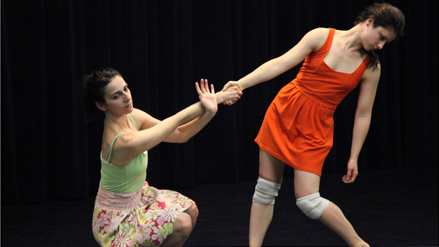 Performers Savina Theodorou and Rebecca Warner rehearse material for <i>Hungry Kite</i>