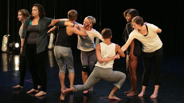 Johnston's collaborators explore themes of dependency and autonomy during a rehearsal session