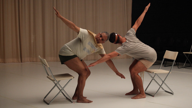 Ishmael Huston-Jones and Gutierrez perform a duet on chairs