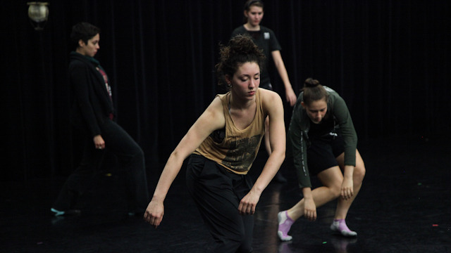 School of Dance student Samantha Pazos and colleagues work with Johnson.