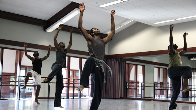 FSU Residency Apprentice Yeman Brown rehearses with Fist and Heel Performance Group