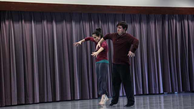 Chris Yon demonstrates movement for Angharad Davies