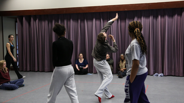 MANCC Class students participate in <em>The People to Come</em> rehearsal.