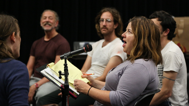Performer Sarah Rudinoff rehearses with <i>The Clay Duke</i> collaborators.