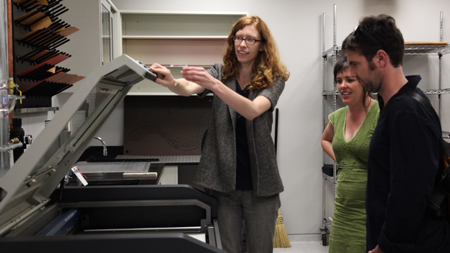 Larsen and Hubeli work with Ashley Ivey of FSU's Facility for Arts Research