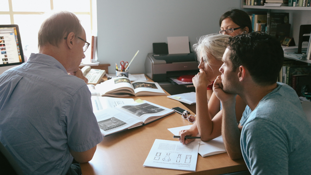 Castro and collaborators discuss performance space with FSU Art Historian Dr. Robert Neuman.