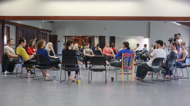 FSU scholars and students engage with performers in a post showing discussion