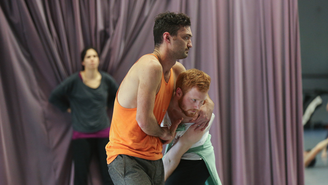 FSU student Ross Daniel works with Sean Donovan during the <i>Queer Choreographies</i> workshop