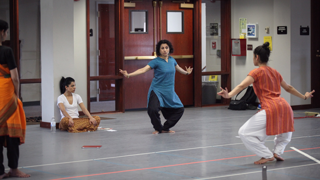 Aparna and Ranee rehearse Ashwini Ramaswamy in <i>Written in Water</i>