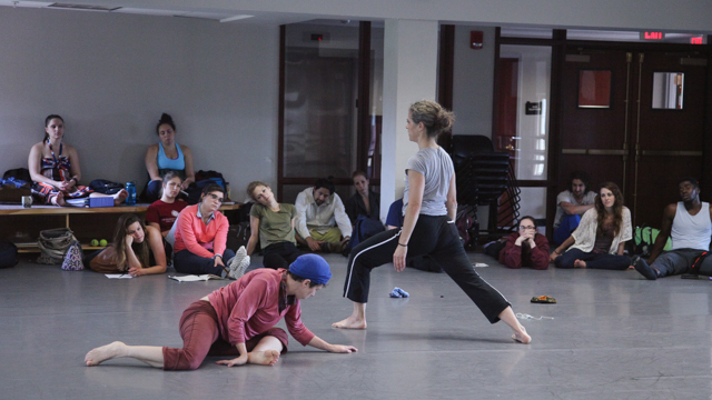 Kristin Van Loon and Arwen Wilder share movement with students in the MANCC class
