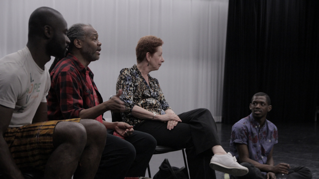 Clement Mensah, Reggie Wilson, FSU Professor Gerri Houlihan and Yeman Brown