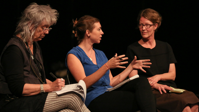 FSU faculty Malia Bruker and Gwen Welliver discuss work-in-progress showing with Carla Peterson