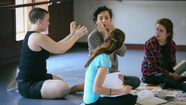 Julia Bither, Aretha Aoki and scribes, Heather Boni and Taylor Ennen in rehearsal