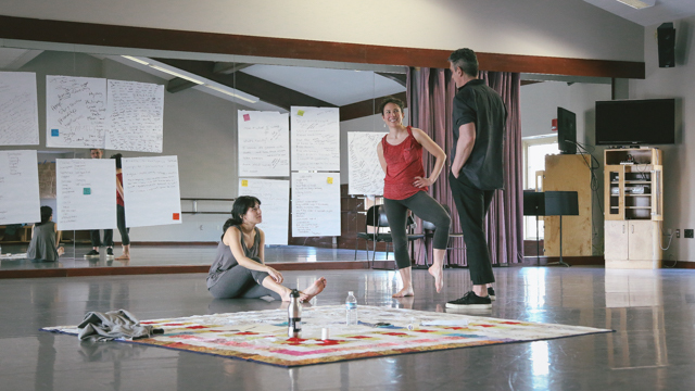 Emily Johnson, Aretha Aoki and Ain Gordon in rehearsal for <i> Then a Cunning Voice...</i>