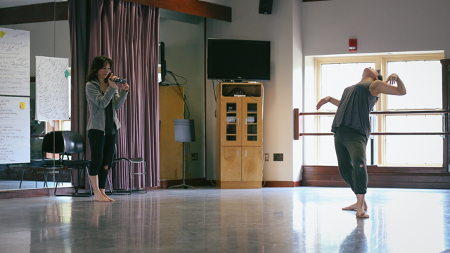 Emily Johnson and Aretha Aoki in rehearsal for <i> Then a Cunning Voice...</i>