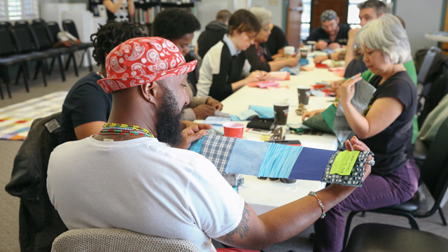 Community members at the Sewing Bee
