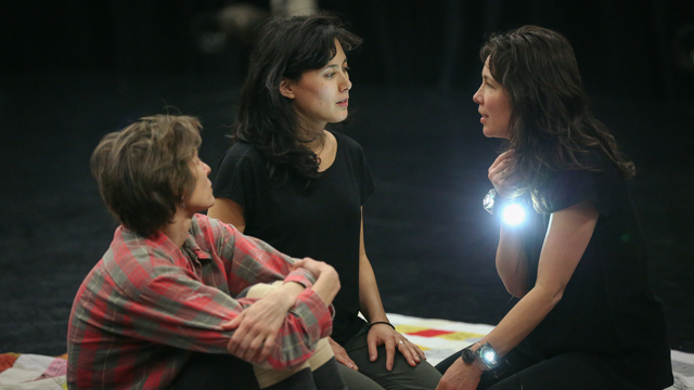 Emily Johnson, Aretha Aoki and Krista Langberg in rehearsal for <i> Then a Cunning Voice...</i>