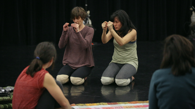 Aretha Aoki and Krista Langberg in rehearsal with Emily Johnson for <i> Then a Cunning Voice...</i>