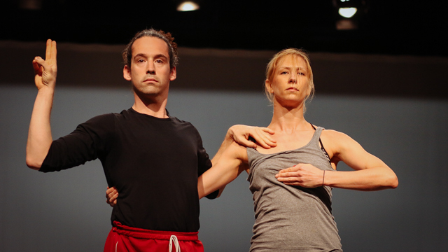Stuart Singer and Heather Lang in rehearsal for <i> Remains </i>
