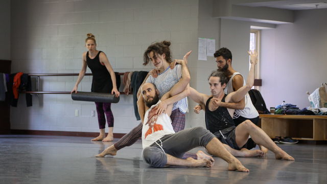 Heather Lang, Burr Johnson, Claire Westby, Stuart Singer, and Marc Crousillat in rehearsal
