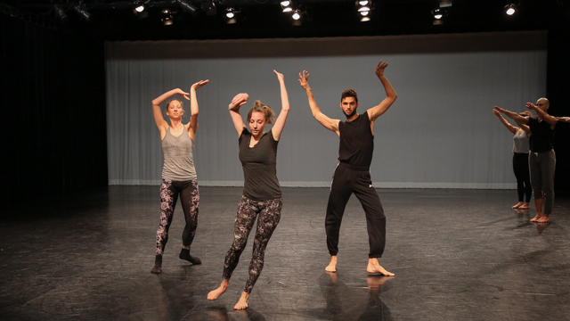 Heather Lang, Maggie Cloud, and Marc Crousillat in rehearsal
