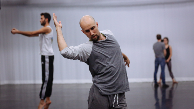 Burr Johnson in rehearsal for <i> Remains </i>