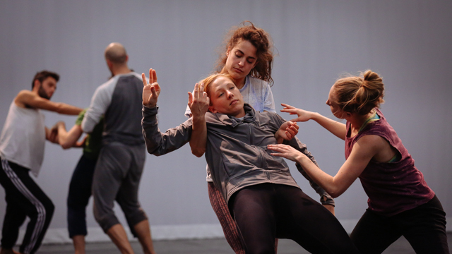 Claire Westby, Heather Lang, and Maggie Cloud in rehearsal