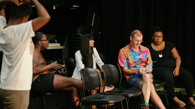 Artists discuss <i> Blank Map </i> in rehearsal