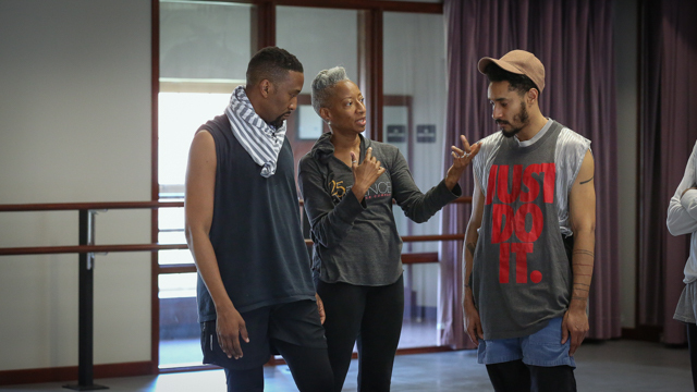 Duane Cyrus and Niall Jones with choreographer Cynthia Oliver
