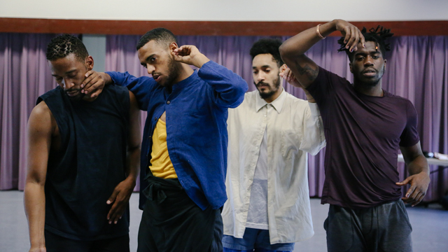 Duane Cyrus, Jonathon Gonzalez, Niall Jones and Shamar Watt in rehearsal for <i>Virago - Man Dem</i>