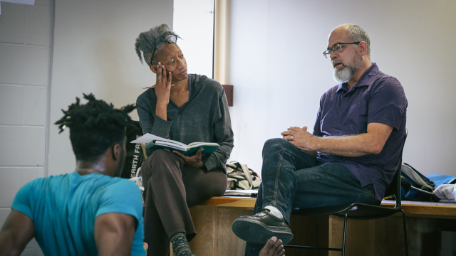 Oliver and performer Shamar Watt discuss the work with Dr. Douglas Schrock (Sociology)
