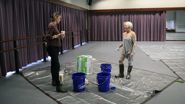 FSU Department of Art faculty Carolyn Henne talks with Carlson about body covering options