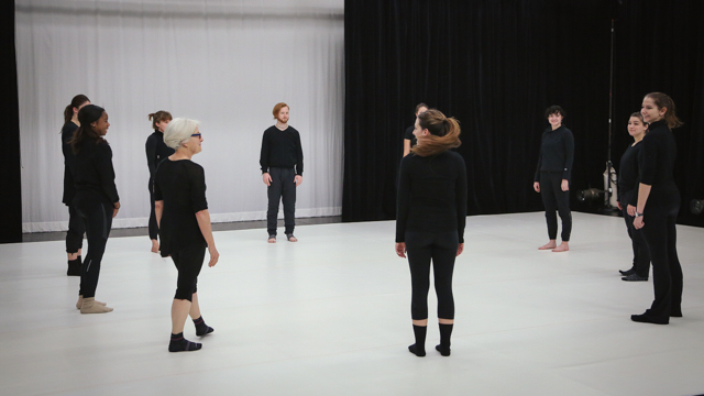 Carlson works with School of Dance students on <i>Elizabeth, the dance</i> material