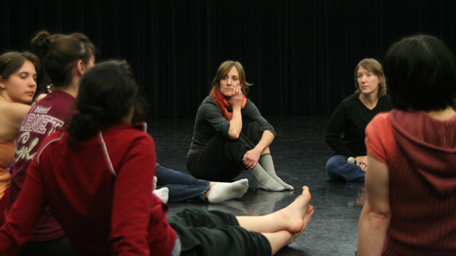 Faulkner and Funsch talk with FSU Dance Students during a Choreographic Workshop.