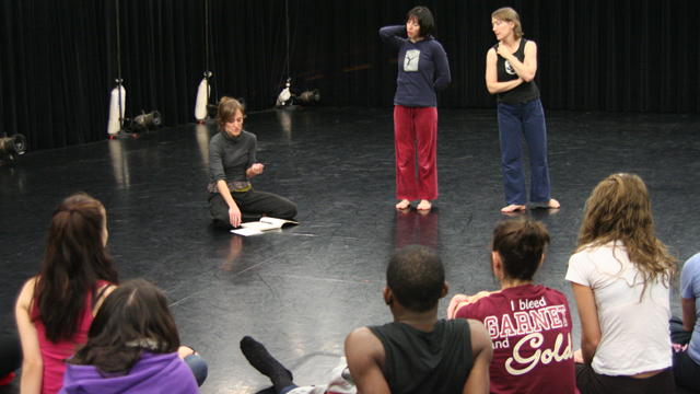 Faulkner, Das and Funsch talk with FSU Dance Students during a Choreographic Workshop.