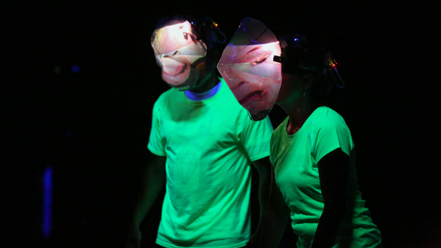 Ron Chunn & Teena Custer rehearse with projection masks