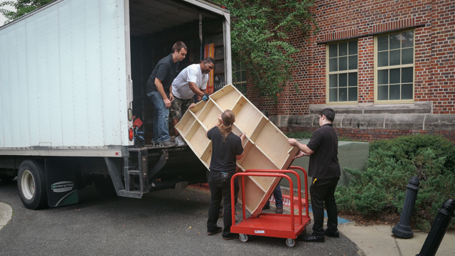 The ramp arrives in pieces from NYC.