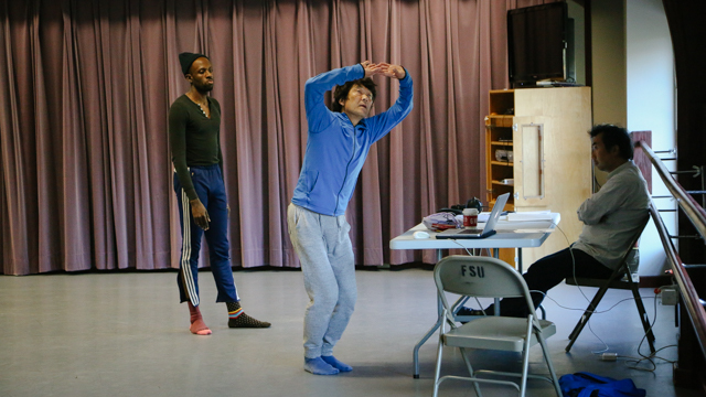 Yamazaki rehearses with Kelly while composer Kenta Nagai watches on
