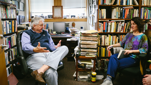 Durning talks with FSU Professor of English Dr. Stanley Gontarski about the work of Samuel Beckett