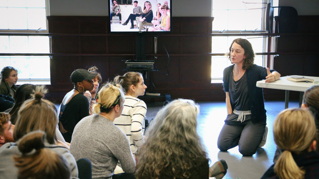 Durning discusses her ideas with FSU School of Dance students
