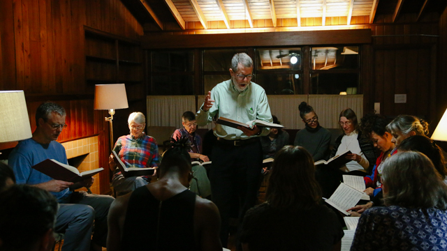 "Rosie Herrera and her cast attend local ""group sing"" of Sacred Harp Singers"