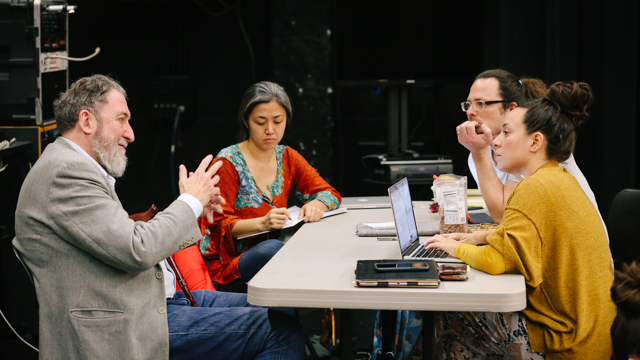 Visual Consultant Maiko Matsushima, Dramaturg David Brick and Rosie Herrera meet with<br>Dr. François Dupuigrenet-Desroussilles