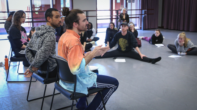 Artists talking with students from FSU's School of Dance