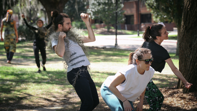 Artists improvising on Landis Green, on FSU's campus