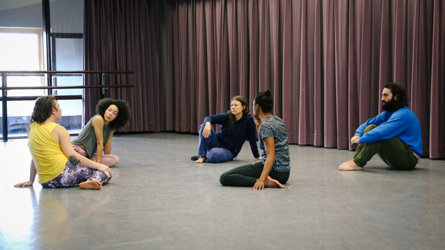Kathy Westwater and performers in rehearsal for <em>Rambler, Worlds Worlds A Part</em>.