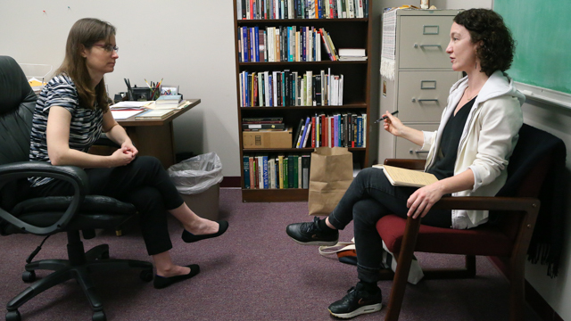 Professor of Philosophy, Dr. Andrea Westlund meets with Durning