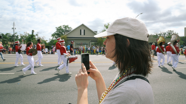 Milka Djordjevich site-visit research at Springtime Tallahassee parade