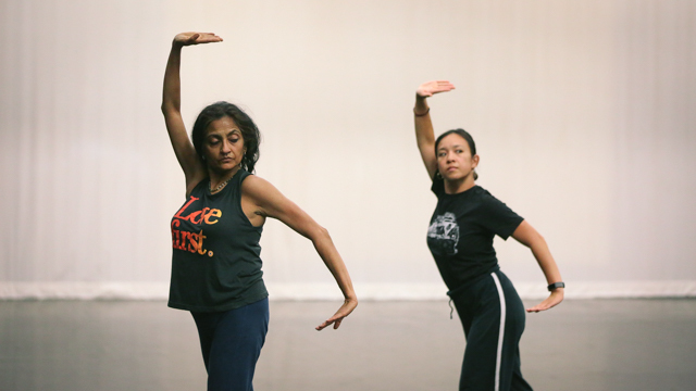 Chatterjea and Ferreira rehearse in the Black Box studio