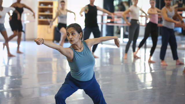 Chatterjea teaches an FSU School of Dance master class