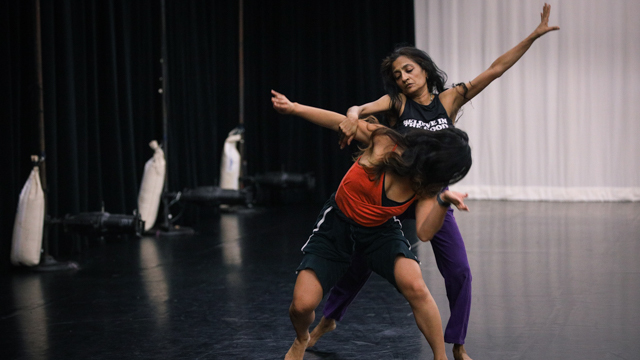 Ferreira and Chatterjea rehearse in the Black Box studio